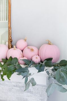 We are loving the unexpected for Halloween decor this year -- pink pumpkins, tabletops that are scary-good, and muted ombre tones have our decorator's eyes perked up. Pink Pumpkins, Painted Pumpkins, Fall Pumpkins, Pink Halloween, Disney Halloween, Halloween Ideas, Baby In Pumpkin, Diy Pumpkin, Pink Pumpkin Party