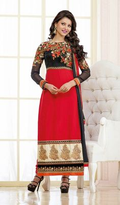 Real elegance will come out of your dressing style and design with this black and red georgette embroidered long churidar suit. This lovely attire is displaying some extraordinary embroidery done with lace, patch, resham and stones work.  #EveningWearCollection