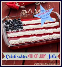 "Simple and festive 4th of July Jello Flag with a ""secret"" ingredient."