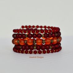 Red/Orange frosted glass bracelet Memory wire by AnukritiDesigns