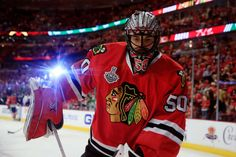 CHICAGO, IL - JUNE 15: Corey Crawford #50 of the Chicago Blackhawks warms up prior to playing against the Tampa Bay Lightning in Game Six of the 2015 NHL Stanley Cup Final at the United Center on June 15, 2015 in Chicago, Illinois. (Photo by Tasos Katopodis/Getty Images)
