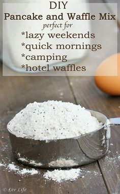 DIY Homemade Waffle Mix - aka Hotel Waffles (mix works for pancakes too!).  | Liv Life @livlifetoo #camping #travelfood #diy