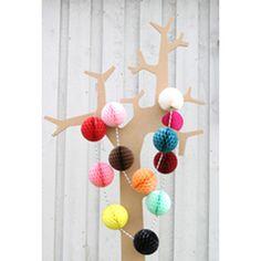 Hanging Decorations . Paper Honeycomb Bunting Balls
