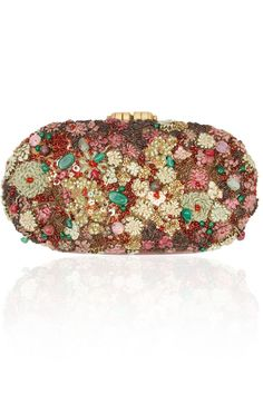 Deep red and green hand crusted leather minaudiere clutch available only at Pernia's Pop-Up Shop.