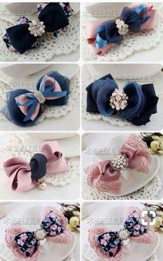 Fabric Hair Bows, Diy Hair Bows, Fabric Flowers, Dog Bows, Baby Bows, Ribbon Crafts, Ribbon Bows, Crochet Crocodile Stitch, Hair Bow Tutorial
