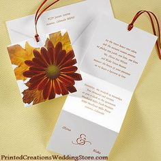 Perfect for announcing your fall wedding is this Autumn Daisy Mini Pocket invitation by Carlson Craft.  This invitation design and many, many others are available at www.PrintedCreationsWeddingStore.com.