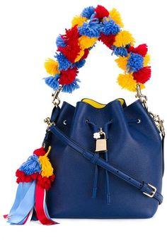 DOLCE & GABBANA Pom-Pom Leather Bucket Bag