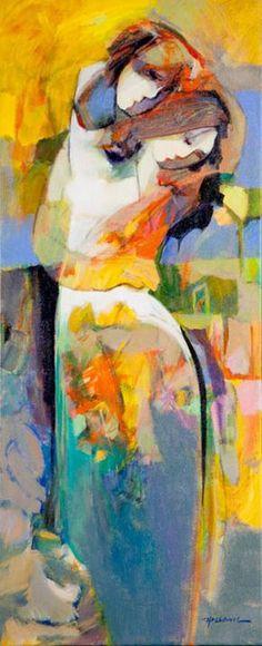 Emotional Embrace by Hessam Painting People, Figure Painting, Modern Art, Contemporary Art, People Art, Portrait Art, Portraits, Fine Art Gallery, Figurative Art