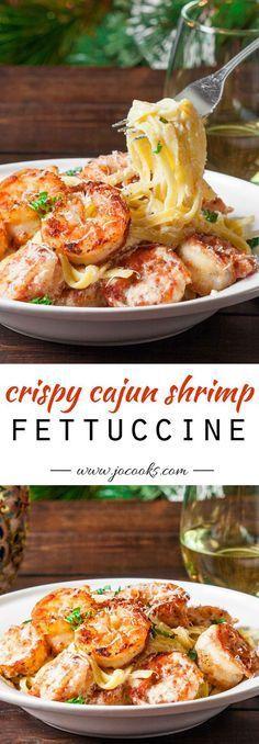 Crispy cajun shrimp fettuccine with homemade creamy sauce and jumbo shrimp that are coated in a homemade cajun spice.