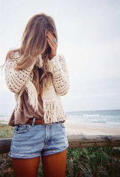 beach, blonde, cool, cute, denim - inspiring picture on Favim.com