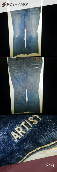 American eagle artist jeans size 12 regular American eagle artist jeans Size 12 regular Stretch Inseam- 31 inches  Waist laid flat- 16.5 inches  Preowned  Good condition American Eagle Outfitters Jeans Boot Cut