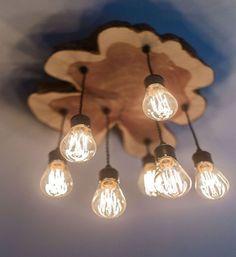 Custom Made Modern Live-Edge Cedar Chandelier Light Fixture With Edison Bulbs - All For Decoration Edison Lampe, Led Lampe, Edison Bulbs, Wood Chandelier, Wood Lamps, Chandelier Ideas, Deco Luminaire, Lampe Decoration, Diy Light Fixtures