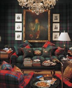 "Glorious Plaid and the Scottish Tartan - Clan Pride. ""I really like the room above from the Ralph Lauren collection because of the walls. The entire wall is covered in plaid which is quite luxurious. It makes me think of a library or a gentleman's club. Tartan Decor, Tartan Plaid, Br House, Scottish Tartans, Home Projects, Family Room, House Design, House Styles, Inspiration"