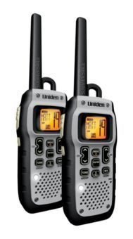 Uniden® GMR5089 Submersible/Floating Two-Way Radios, 50 mile range, 22 channels, floats, emergency strobe, runs 9 hours on battery packs.  $100