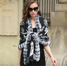 mulberry silk shawl with rex rabbit  fur trim.black color.USD150