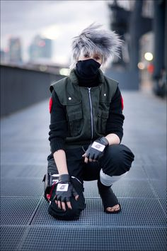 Kakashi, Naruto cosplay.  This one has the look but the personality is missing!  Do something with yourself lol