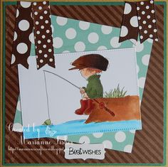 I love the vintage LOTV boys images, they are just so cute. I made this for a friend's Birthday and it is also my second inspiration ca. August Challenge, Boy Images, Gone Fishing, Lily Of The Valley, Friend Birthday, Fisher, Cardmaking, Card Ideas, Challenges