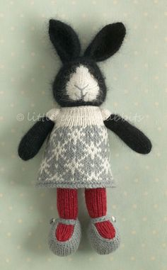 Another knitted rabbit in a snowflake dress.