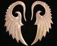 Avaia Artistic Jewelry  - GLORY mother of pearl, shell, wings, hanging ear gauges - limited 12g, 10g, 2g, organic, spiral plugs, $26.99 (http://www.avaiaartisticjewelry.com/glory-mother-of-pearl-shell-wings-hanging-ear-gauges-limited-12g-10g-2g-organic-spiral-plugs/)