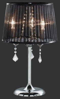 Luxusná dobová lampa pre váš nočný stolík alebo do obývačky. Luxusný staro taliansky štýl v čiernom prevedení a akrylovými kamienkami.140er