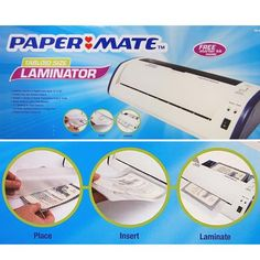 "PaperMate PM-400L Laminator Tabloid The Papermate PM-400L Tabloid Size Laminator is ideal for a variety of applications up to 13"" X 19"". Trouble-free jam release feature. Accepts a variety of pouch thicknesses from 3-8 mil. Ready to use in just a few minutes. 13"" opening for easy insertion. Hot roller system ensures an airtight seal. Simple and safe to operate. Works with all PAPER MATE brand laminating sheets as well as all other major brands. Features: 13"" x 19"" laminator applications…"