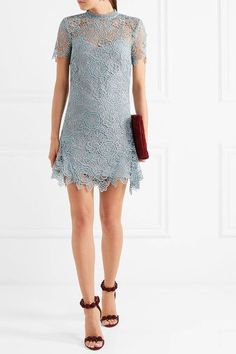 Self-Portrait - Open-back Guipure Lace Mini Dress - Sky blue - UK