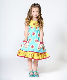 Look at this Teal Floral Darling Sailor Dress - Infant, Toddler & Girls on #zulily today!