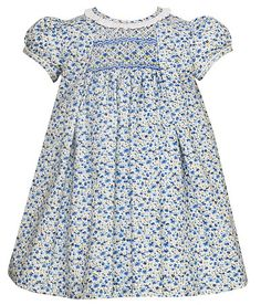 f44896923a2e Anavini Infant   Toddler Girls Blue Liberty Print Floral Smocked Dress with  Pleats   Ruffle Collar
