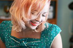 Pastel Peach Hair and a Vintage style sundress #pastel #peach #hair