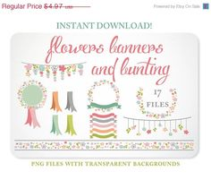 Bunting, Banners & Flowers - Laurel - Wreath - Graphics perfect for Spring Scrapbooking or Embellishing your Blog or Website.  https://www.etsy.com/listing/129128921