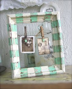 *beach cottage picture frame*    can do this with any frame. love the look with the clothes pin, lends to a vintage shabby chic feel
