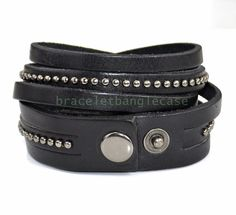 Black leather wrap bracelet with leather and by braceletbanglecase, $9.00