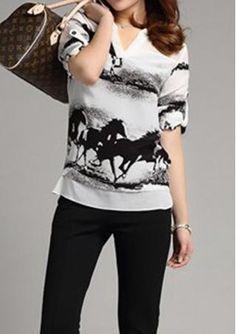 Long Sleeves Horse Printed Blouse