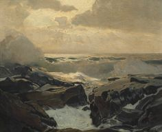 """Frederick Judd Waugh (American, 1861-1940)  20"""" x 30"""" canvas size Rising Tide Monhegan. Oil on canvas, signed at the lower right corner, fra..."""