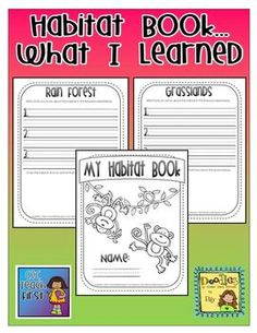 Use this book as a journaling activity after learning about each animal habitat.  Students write up to 3 facts about a particular habitat and then ...