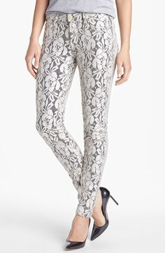Hanna's hot pants!! 7 For All Mankind® 'The Skinny' Lace Overlay Pants