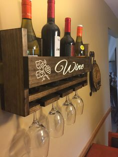 Personalized Wine Rack Engraved Carved Custom Rustic 4 Bottle Wall Mount Wine Rack with 4 Glass Slot Holder, Wall Decor, Primitive, Handmade