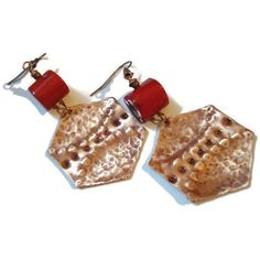 Hammered Copper Patina Big Red Coral Earrings Unique Modern Coral and... ($23) ❤ liked on Polyvore featuring jewelry, earrings, geometric earrings, copper jewelry, red coral earrings, earring jewelry and coral jewellery