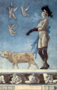 """7 July 1833, the Belgian Symbolist artist Félicien Rops was born in Namur.  Depicted below is Félicien Rops' racy symbolist painting """"Pornocrates"""" (1878)."""