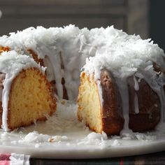 "Pina Colada Bundt Cake Recipe -We named this bundt a ""pina colada"" because it has coconut, pineapple and rum. It's a soothing finish at the end of a big spread. —Debra Keil, Owasso, OK (easy cake recipes bundt) Potluck Desserts, Coconut Desserts, Coconut Recipes, Just Desserts, Delicious Desserts, Coconut Cookies, Easter Desserts, Pina Colada, Piña Colada Cake"