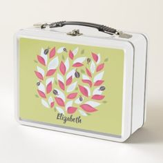 Green Plant With Pink Leaves Ladybugs Spring Name Metal Lunch Box - trendy gifts cool gift ideas customize