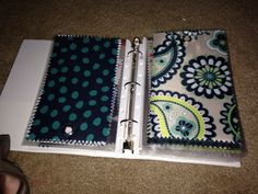 Avery 5.5 x 8.5 three ring notebook with Avery 5.5 x 8.5 sheet protectors for thirty-one fabric swatches