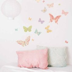 Kids Room Ideas : Colorfull Butterflies Pattern Stickers Wallpaper Butterfly Wall Decals For Kids Room Pink Green Red Orange Blue Pillows Fabric Be Best 10 bedroom design decorations as examples of good best butterfly wall decals for kids rooms Custom Wall Clings. Photo Decals. Daisy Wall Decals.