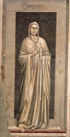 Temperance, The Seven Virtues, Cappella Scrovegni, Padua, Giotto di Bondone Noli Me Tangere, Italian Painters, Italian Artist, Fresco, Renaissance Kunst, Giorgio Vasari, Early Middle Ages, Art Database, Tempera