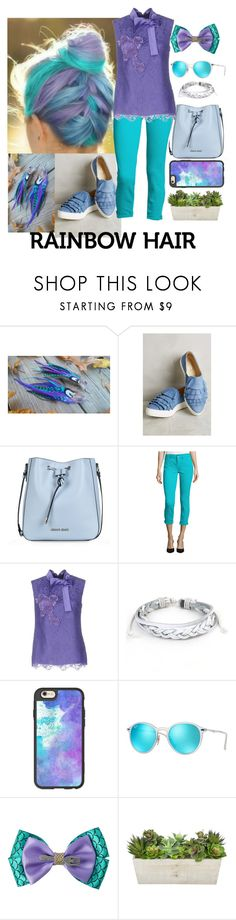 """From the Sea to the Sky"" by elsiebeagie ❤ liked on Polyvore featuring Seychelles, Armani Jeans, Alberta Ferretti, West Coast Jewelry, Casetify, Ray-Ban, Disney, hairtrend and rainbowhair"