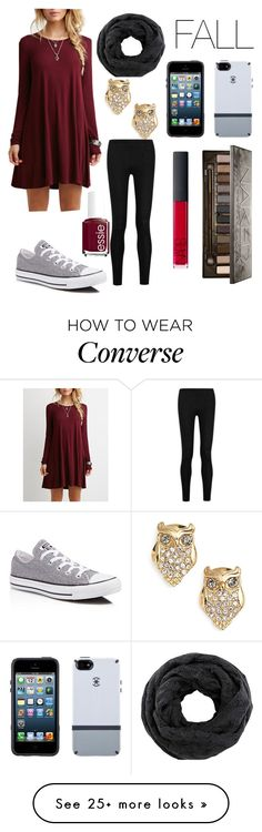 """""""yes that is converse with the dress❤"""" by legitmaddywill on Polyvore featuring Kate Spade, Donna Karan, Speck, Urban Decay, NARS Cosmetics, Converse and Essie"""