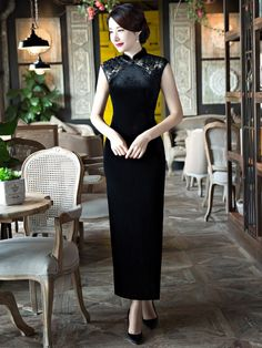 Embroidered Velour Ankle-Length Qipao / Cheongsam Dress with Split