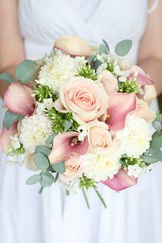 Summer wedding bouquet - Dahlia, sweet avalanche roses, phlox, calla lilies and eucalyptus.