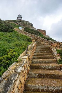 Steps to the Lighthouse at the Cape of Good Hope in South Africa. - South Africa Travel Destinations Backpack Backpacking Vacation Africa Off the Beaten Path Budget Wanderlust Bucket List Africa Destinations, Road Trip Destinations, Vacation Trips, Vacations, Visit South Africa, Cape Town South Africa, Durban South Africa, Places To Travel, Places To See