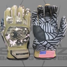 2017 Spiderz WEB Batting Gloves Men's Military Camo Medium (M) Baseball #Spiderz
